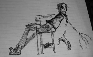 Dishongh's self portrait in his college notebook.