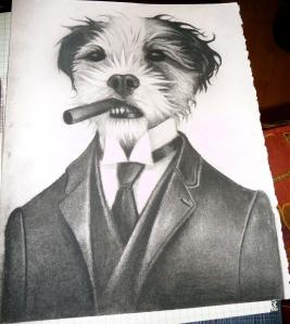 Hand-drawn image of cigar-smoking